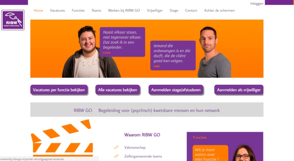 RIBW GO lanceert werkenbij-website met technisch hoogstandje